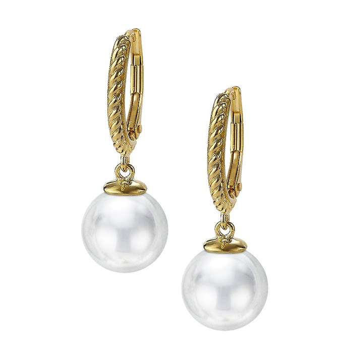 Pearl Twisted Rope 18k Plated Lever Earring Joia De Majorca