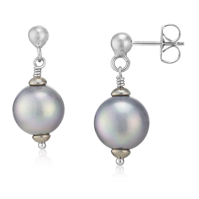 Grey Pearl Drop Sterling Silver Earring 10mm Joia De