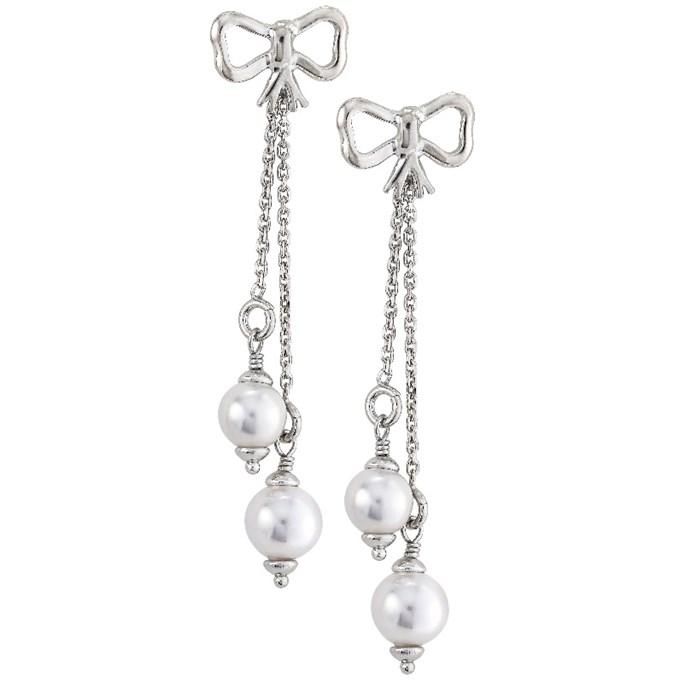 Long Dangle Bow Pearl Earrings In Sterling Silver 7mm 8mm