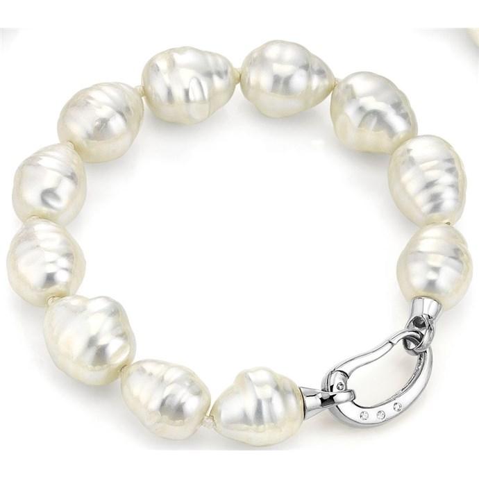 White Baroque Pearl Bracelet Platinum Cz Clasp Joia De