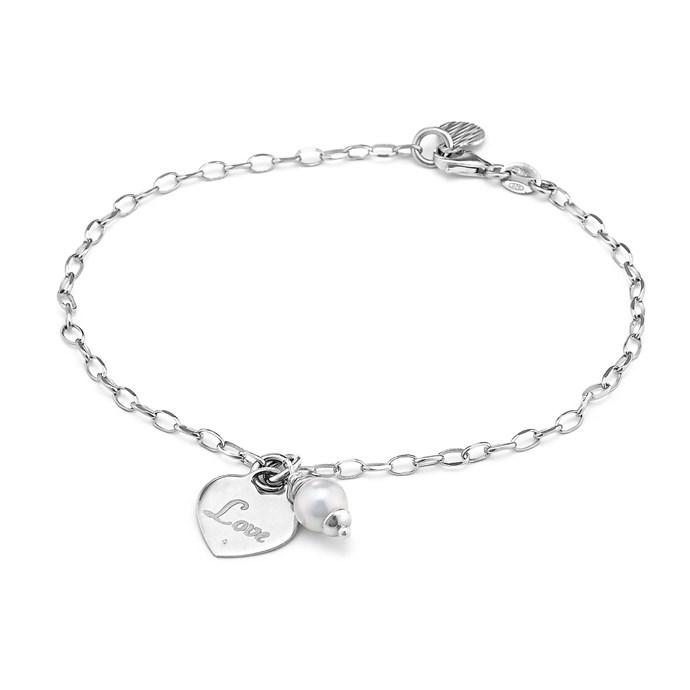 7 5 Pearl Love Heart Bracelet In Sterling Silver White