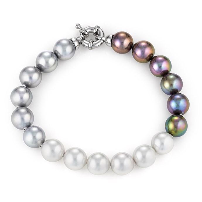 Black Grey White Pearl Bracelet 7 5 Quot Joia De Majorca