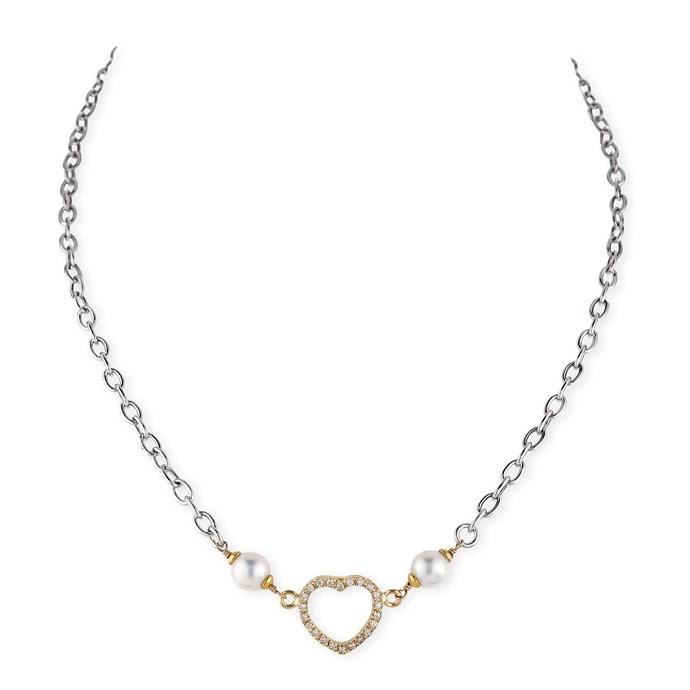 Pearl Amp Cz Heart Necklace Joia De Majorca